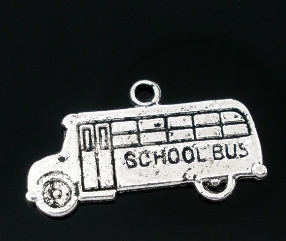 50 Antique Silver School Bus Charms Pendants 23x13mm Mr.Jewelry(China (Mainland))