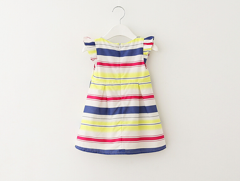 Free Shipping 6 Pieces/lot 2-8T Brand Quality Girl Yellow Blue Striped Color So fashion Flying Sleeve Dress(China (Mainland))