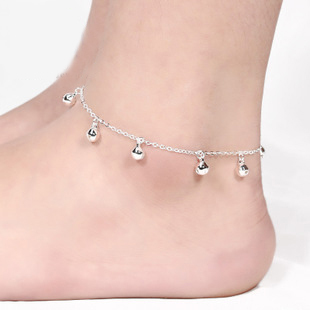 New Fashion Foot Jewelry Sterling silver Bells pendants Chain Anklet Summer Beach Barefoot Bells Anklet enkelband bijoux JL009R(China (Mainland))