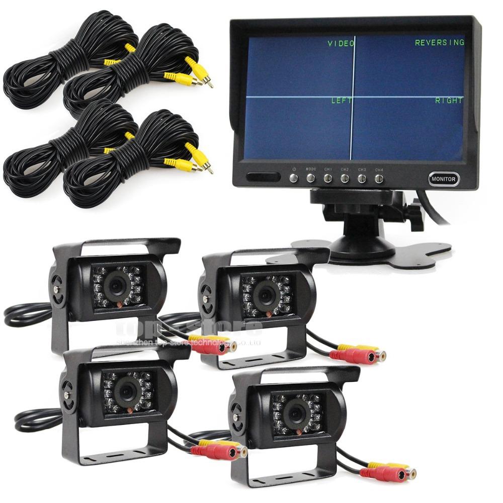 7 inch 4 Split QUAD Rear View Monitor +4 x CCD IR Night Vision Rear View Camera Waterproof Monitoring System(China (Mainland))