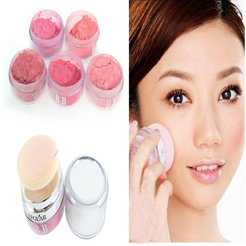 Women Girls 3D Pure Mineral Face Cheek Color Blush Blusher Powder Cosmetic Free Shipping(China (Mainland))