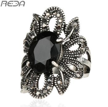 Punk Rock Ring Jewelry Silver Restoring Ancient Ways Black Agate Stones Hollow Out Female Personality Hipster Index Finger Rings