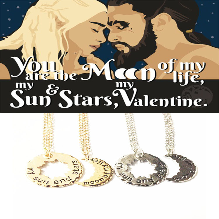 New 2015 Wholesale His and Hers Khal Khaleesi Necklaces Game of Thrones necklace moon of my life necklace,Sun and Stars necklace(China (Mainland))