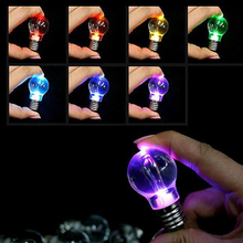 Amazing 7 Colors Changing Lamp Bulb Novelty Lighting Fashion Key Chain Creativity Holiday Camping Romantic Gadget Small Gifts(China (Mainland))