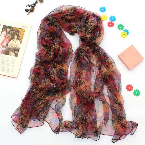 Widening silk printed scarf silk scarf full Suzhou Silk 100 % silk scarves KQ32018(China (Mainland))