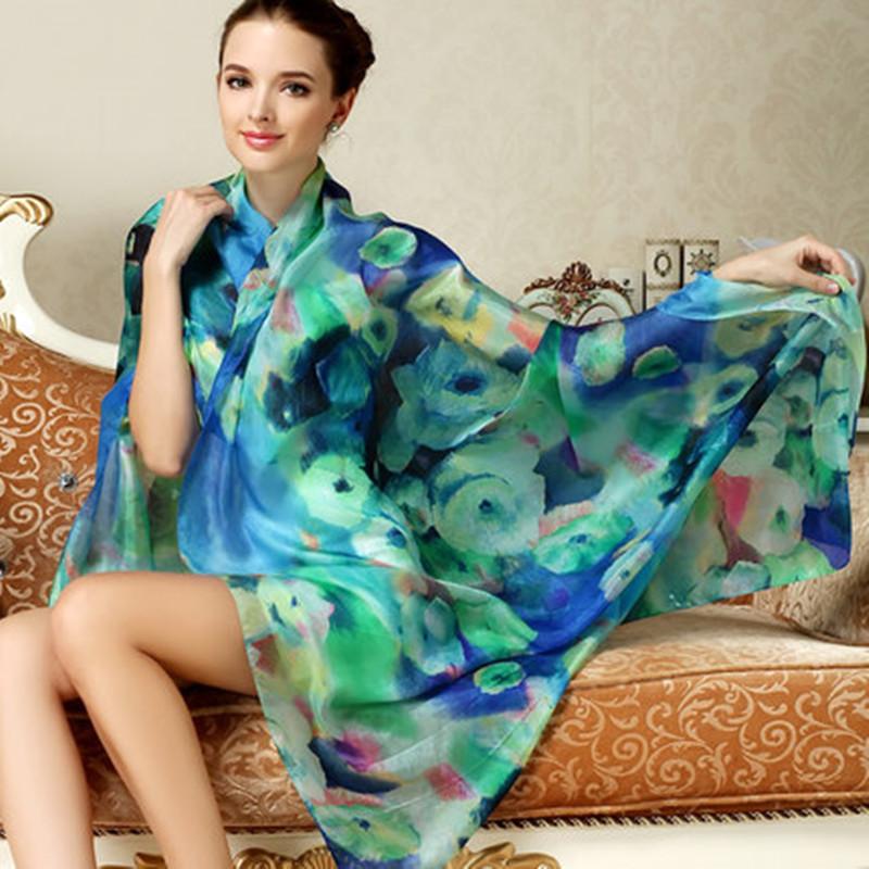 2016 Women Long Silk Scarf Shawl Spring Autumn Female Silk Scarves Printed Summer 100% Mulberry Silk Beach Cover-ups 175*110CM(China (Mainland))