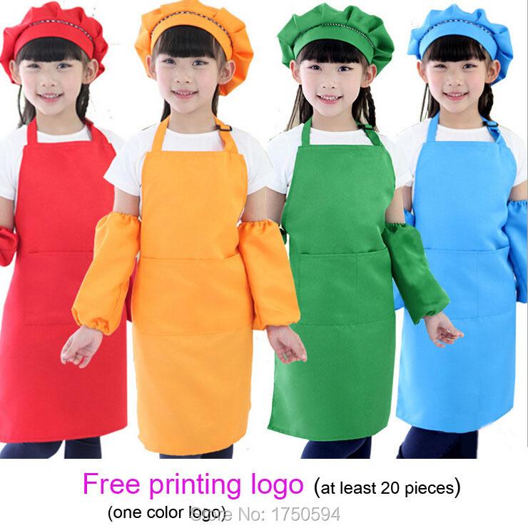 Newest Children kitchen apron Kids cooking apron Draw Kindergarten work adjustable strap aprons +Free printing pattern/logo(China (Mainland))