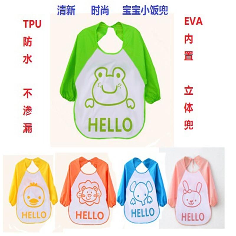 New Arrival Cartoon Animal Waterproof Kids Art Smock Long Sleeve Bib Apron for Baby Self Feeding Painting Clothes baberos(China (Mainland))