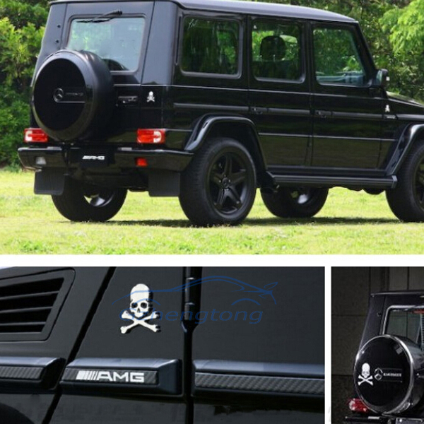 1x 3D Skull and Bones Logo Symbol Car Auto Motorcycle Metal Alloy Emblem Badge Sticker Black/Silver/Golden