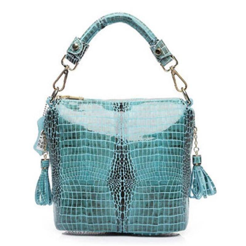 Brand Design Women Embossed Tassel Handbag Snake skin Pattern Tote Bags Genuine Leather bags Shoulder Messenger Bag For Ladies(China (Mainland))