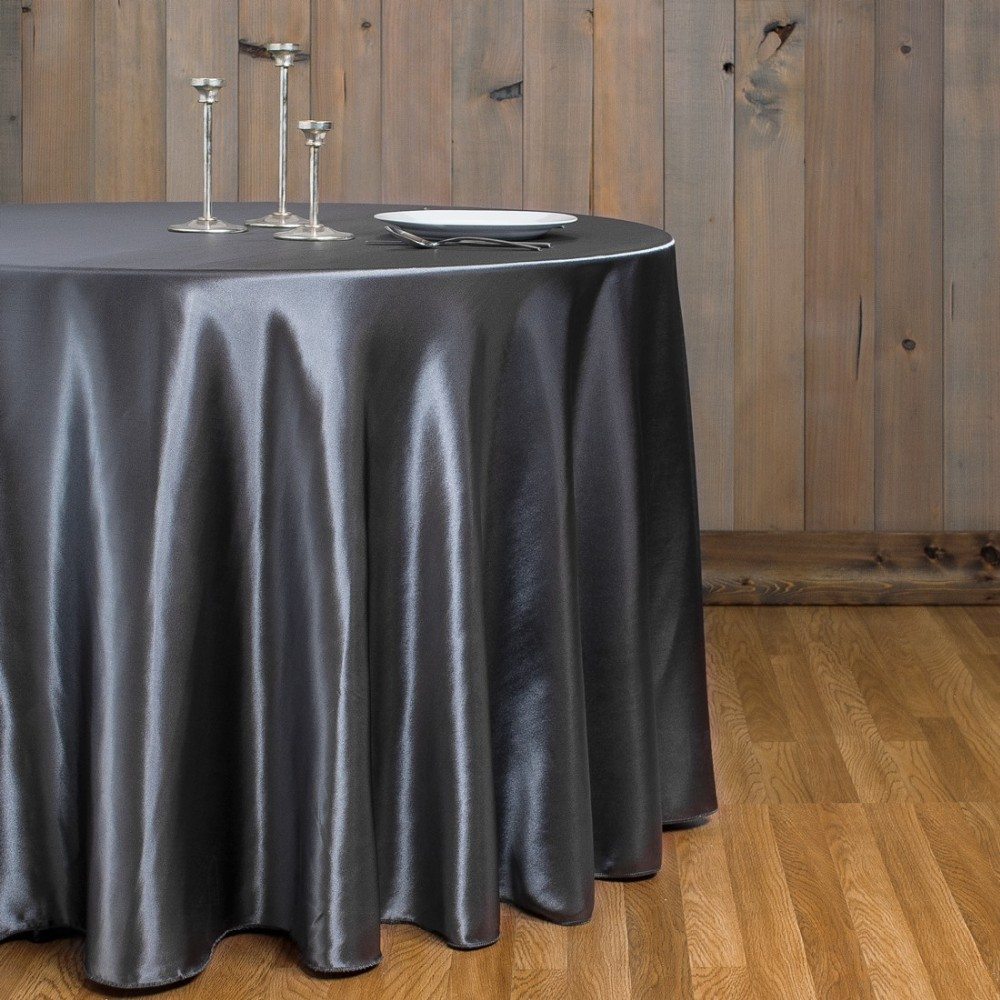 Free Shipping 10pcs Cheap Black 70''/90''/108''/120''/132'' Round Satin Table Cloths Banquet Table Covers Wedding Table Linens(China (Mainland))