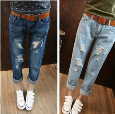 2015 spring new loose large size hole casual denim jeans street style top fashion women ripped - Fair Lady Closet store