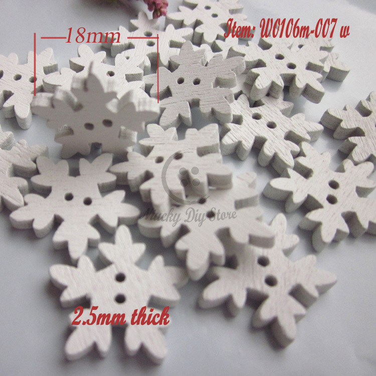 Christmas series 200pcs 18mm White snowflake wooden button Christmas decoration material craft scrapbooking accessories(China (Mainland))