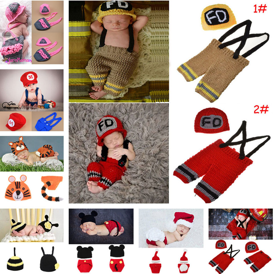 Crochet Firefighter Baby Boy Photo Props Infant Kid Hat Clothes Set Knitted Newborn Hat Pants Set for Photography 1set MZS-15037(China (Mainland))