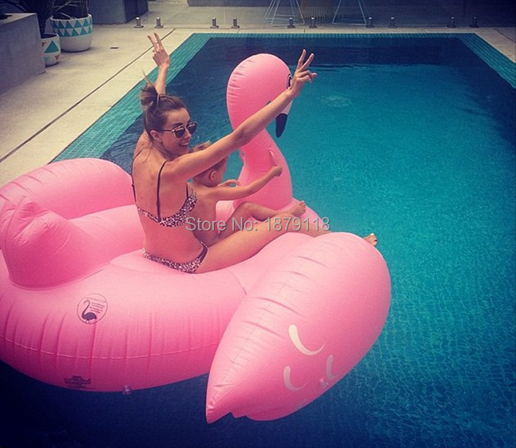 Holiday Water Fun Pool 1.9M pink bird Giant Swan Inflatable Flamingo Ride-On Pool Toy Float inflatable swan pool Swim Ring Toys
