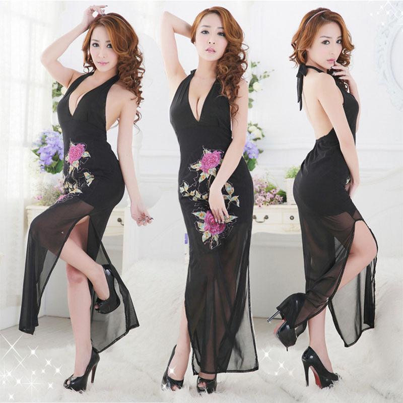 Sexy Long Sleepwear Adult Deep V Women's Lace Sexy Exotic Apparel Lingerie Chinese Style Underwear Sleepwear(China (Mainland))