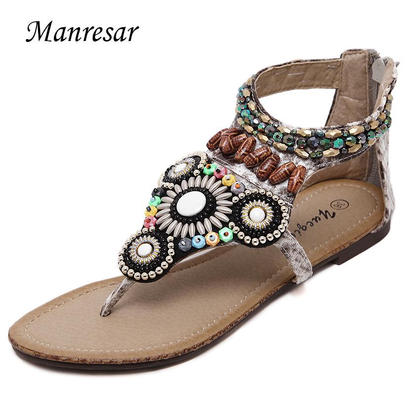 2016 Summer Rome Vintage flip flops fashion women flat Rhinestone sandals shoes women slippers gladiator(China (Mainland))