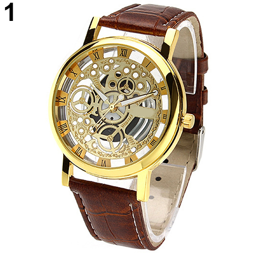 Good Choice Mens Womens Roman Numerals Faux Leather Band Skeleton Analog Sports Dress Wrist Watch<br><br>Aliexpress