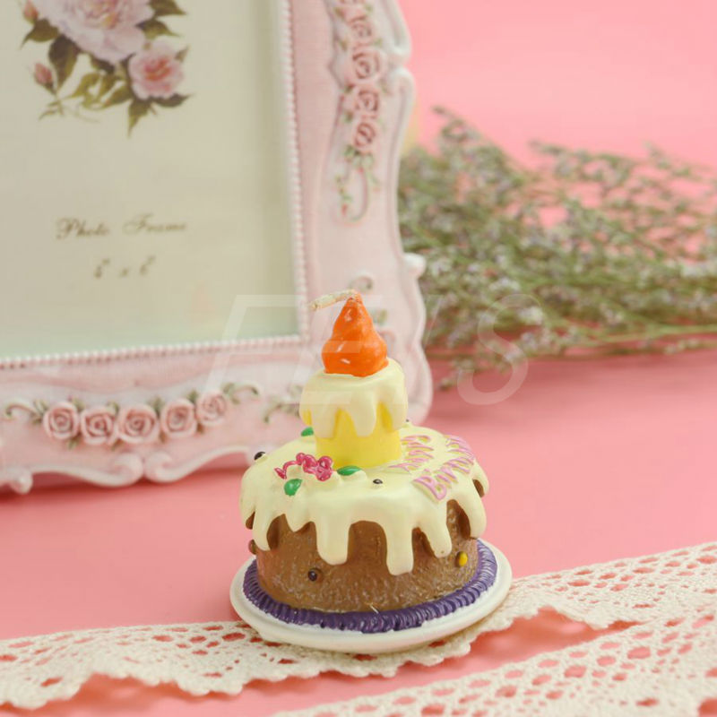 Wholesale 4pcs/lot Child Birthday Candle Wax Sweet chocolate cream cake shape candle Home Decor Smokeless Creative Gift Candle(China (Mainland))