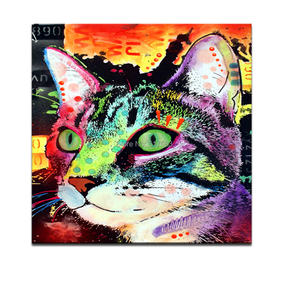 """Framed Abstract Cat,Colorful Painting Prints,Lovely Pet Canvas,20""""x20"""" Animal"""