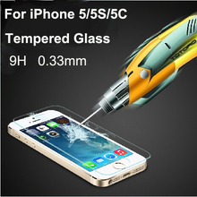 Free Shipping 0.33mm Ultra Thin HD Clear Explosion-proof Tempered Glass Screen Protector Cover Guard Film for iPhone 5 5C 5S