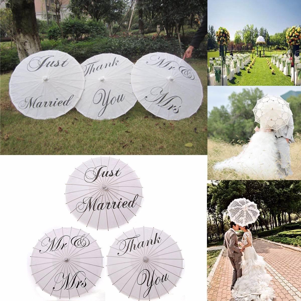 Bamboo 20.5'' Just Married Wedding Umbrella Parasol White Paper Mr & Mrs Wedding Bridal Favor Parasol Adult Size(China (Mainland))