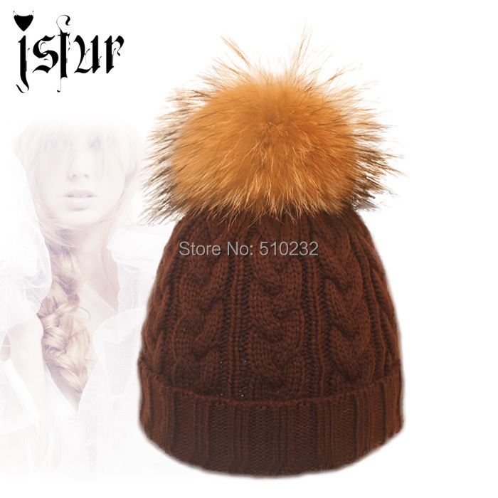 2015 Woolen Knitted Winter Hat Beanie With Fur For Girls Real Raccoon Pom Women Skullies Beanies Hats Caps Apparel Accessories(China (Mainland))