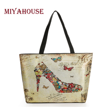 Miyahouse Fashion Shine Butterfly Printed Tote Handbags Women Bling Shopping Bags Lady Leather And Canvas Beach Bag Female(China (Mainland))