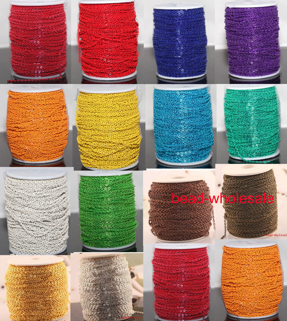 Bulk 5m/lot Open Link Plated Gold Silver Jewelry Chains Cable Chain for Necklace Bracelet Jewelry Making Many Colors to Choose(China (Mainland))