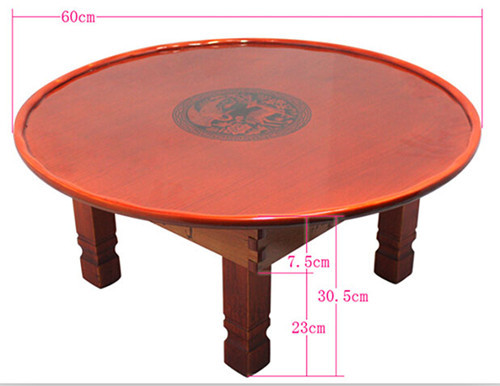 Korean Coffee Table Folding Leg Round 60cm Asian Antique Furniture Floor Table for Dinning Traditional Living Room Wood Table(China (Mainland))