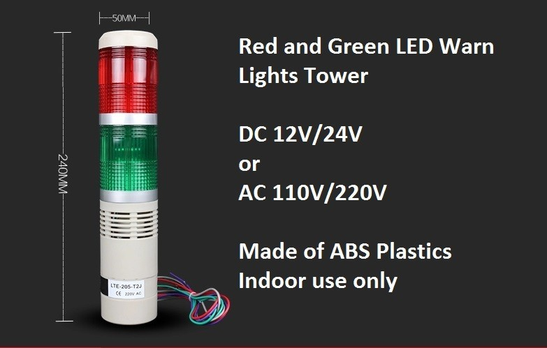 50mm Industrial Signal Tower Light Safety Red Green LED Alarm Lamp Waring Lights 12V/24V