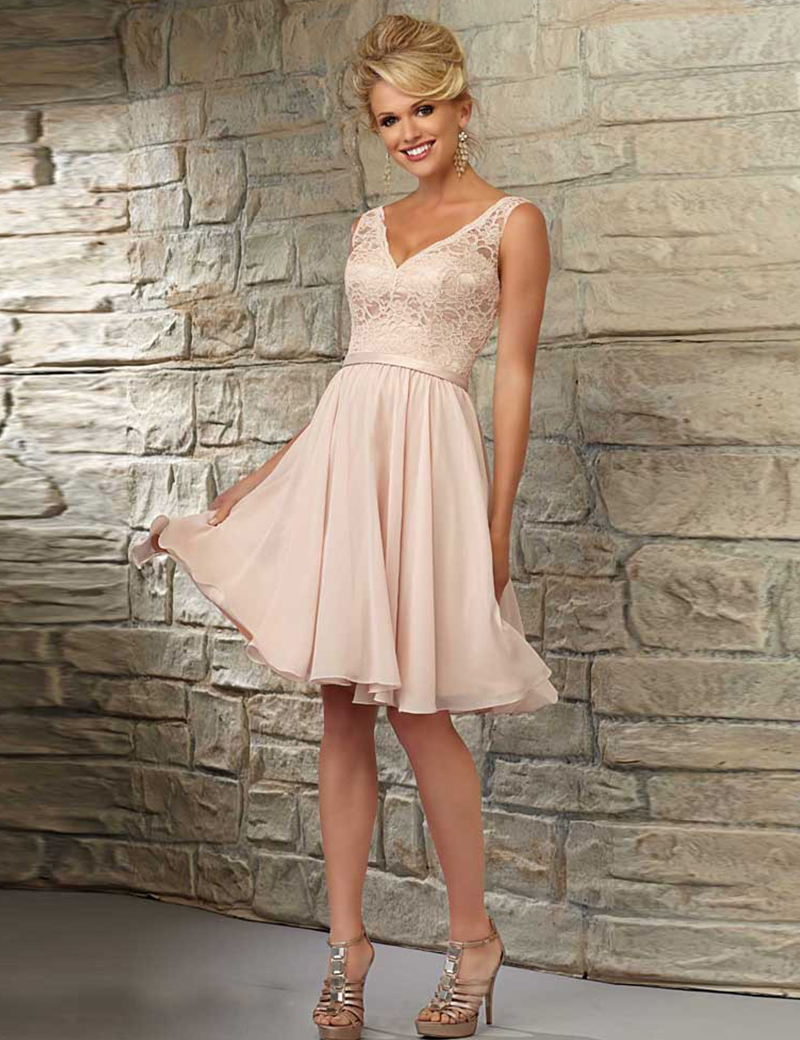 Vestidos De Madrinha Vestido V Neck Peach Maid Honor Knee Length Gown Bridesmaid Dresses 2016 Formal Wedding Party Gowns - New York Brides store