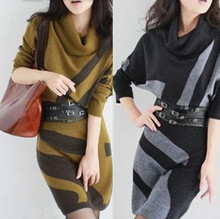 Free shipping New fashion long-sleeve winter dress cashmere woolen sweater  one-piece dress Plus Size sweater dress with belt(China (Mainland))