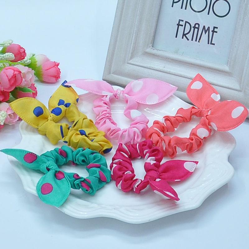 TS 10pcs Cute bunny Baby girl flower hair clip headbands ears dot chiffon headwear wild elastic hair band hair rope ornaments(China (Mainland))
