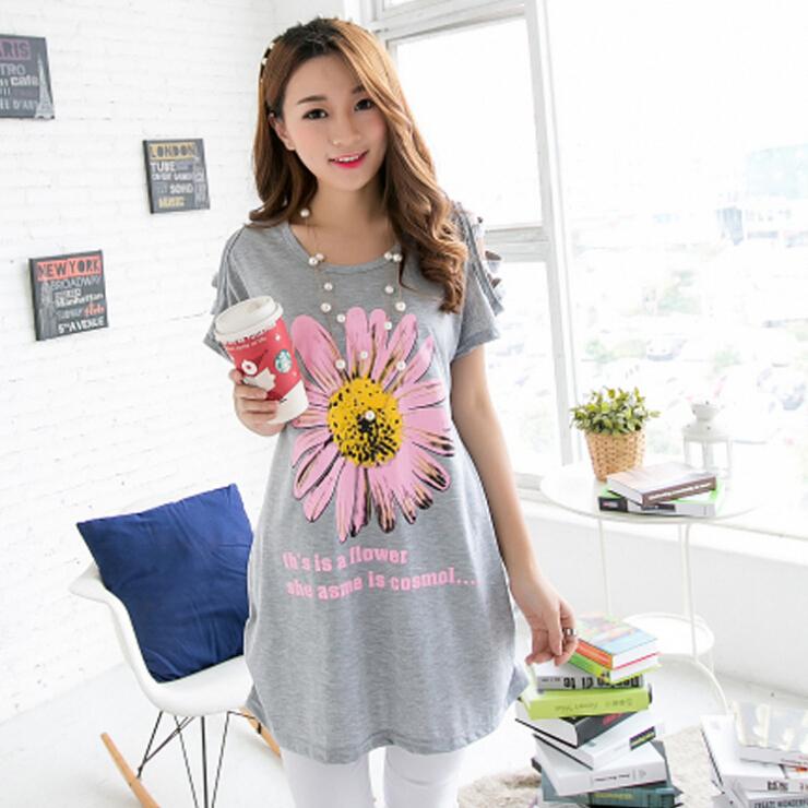 2015 summer new large size women loose long dresses large sunflower shirt Size(China (Mainland))