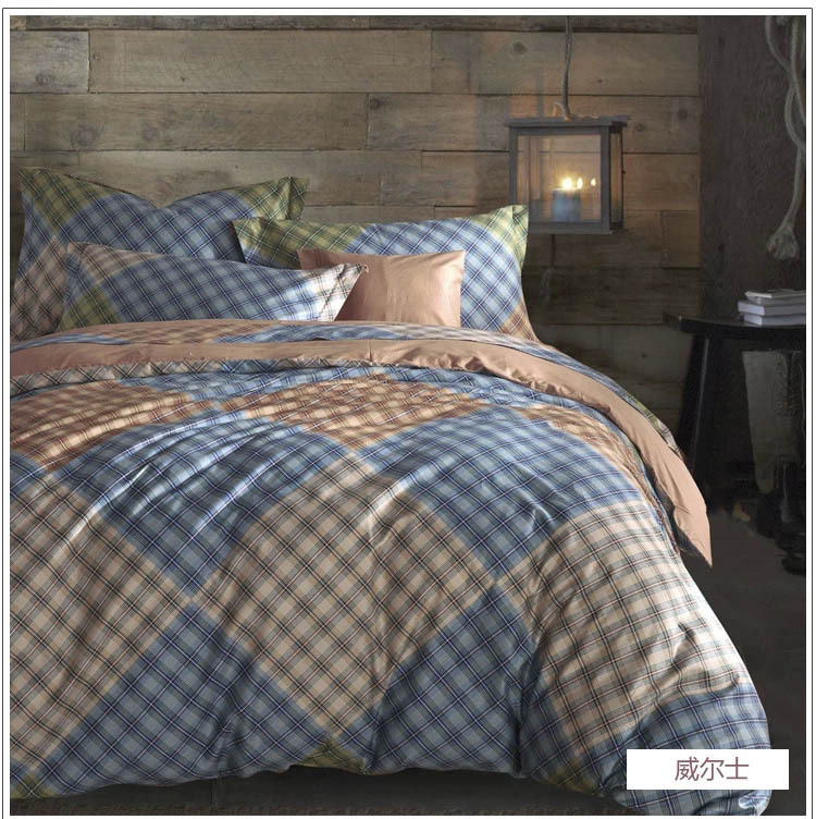 New fashion high quality blue big and small plaids bedding set 4pcs bed set comforter cover bedsheet beding set bedclothes 2809(China (Mainland))