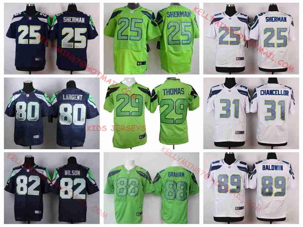 Stitiched,Seattle Seahawks,Kam Chancellor,Luke Willson,Richard Sherman,Doug Baldwin,Jimmy Graham,Jimmy Graham.for youth,kids(China (Mainland))
