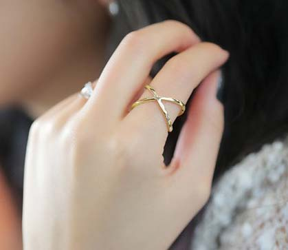 My Love From The Star X cross stereo surround ring hollow free shipping(China (Mainland))
