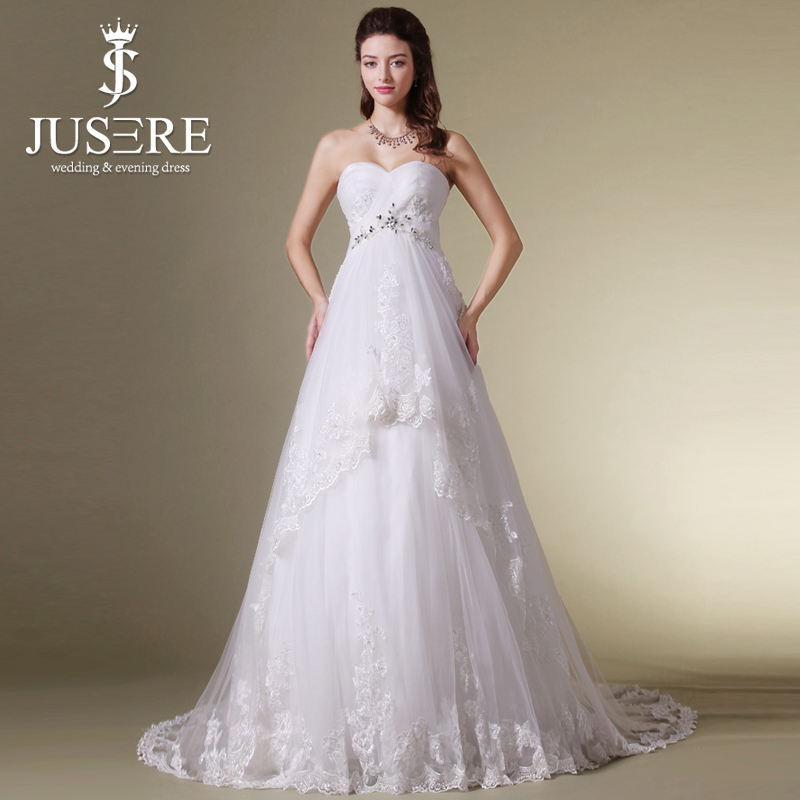 Jusere b 417 elegant lace appliqued high waist tulle for Wedding dress pregnant bride