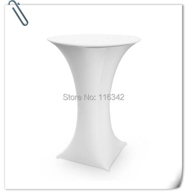 Big Discount !!! Free shipping /Top quality white spandex lycra cocktail table cover ( Dia 75*120cm H)(China (Mainland))