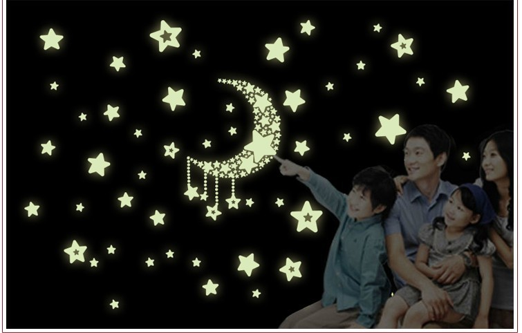 Y13 Fluorescent Luminous Wall Stickers Glow Dark Stars Home Decoration Eco-friendly PVC Cartoon Decal Kids Rooms - Shanghai Paradise home decoration store