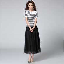 2015 Spring And Summer Black And White Stripe Jersey Chiffon Patchwork Faux Two Piece Mid-Long Short Sleeve Dress
