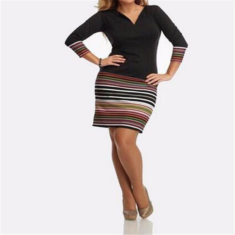 Newly 2016 Fashion Women Mini Sexy Dress Spring Autumn Patchwork Long Sleeve V-neck Striped Vestidos Slim Bodycon Party Dresses(China (Mainland))