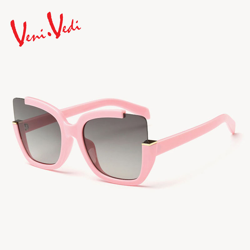 Brand veni vedi 2016 new summer style women sunglasses for women's cat eyes sun glasses half frame big mirror fashion vintage(China (Mainland))