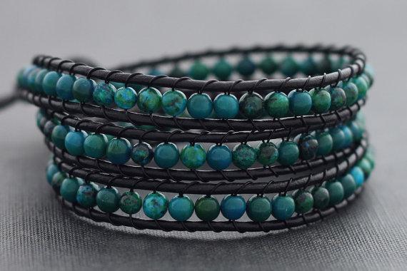 Хризоколла браслеты из бисера для женщин/мужчин кожа wrap браслеты мода стиль с латунный ...