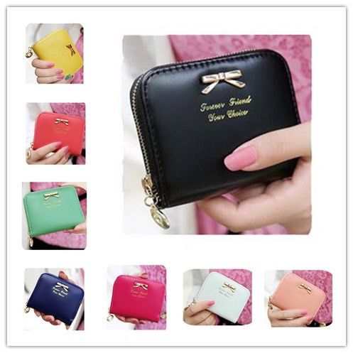 Free Shipping New Fashion Lady Leather Wallet Bag Women Zip Wallet Purse 8 Colors Mini Card Holder Handbag Priting Wallet Clutch(China (Mainland))