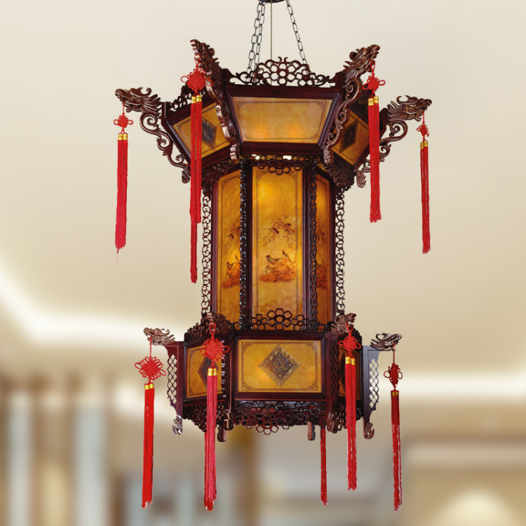 Chinese style pendant light classic lamps solid wood living room lights lanterns hall lamp lighting free shipping(China (Mainland))