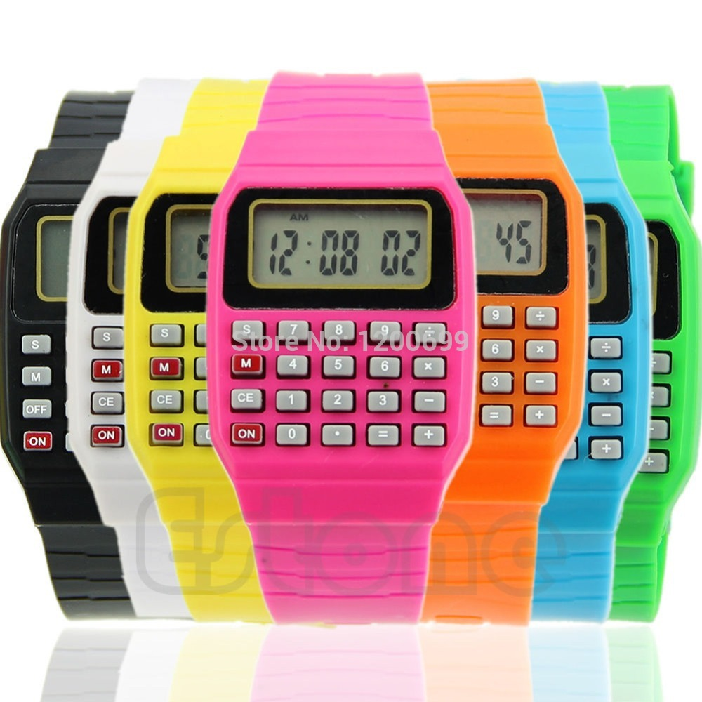C18 hot -selling Silicone Date Multi-Purpose Fashion Child Kid Electronic Wrist Calculator Watch free shipping(China (Mainland))
