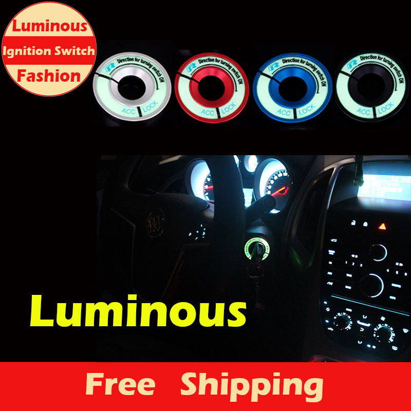 New Fashion Style Luminous Ignition Switch Cover for VW Golf/Polo/Passat/Eos/Tiguan, Audi A3/A4/TT/TTS Car Interior Accessories(China (Mainland))