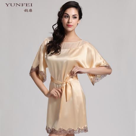 Hot 2015 spring 100% mulberry silk one-piece dress sexy elegant lace womens nightgown size large silk sleepwear ladies nightie(China (Mainland))